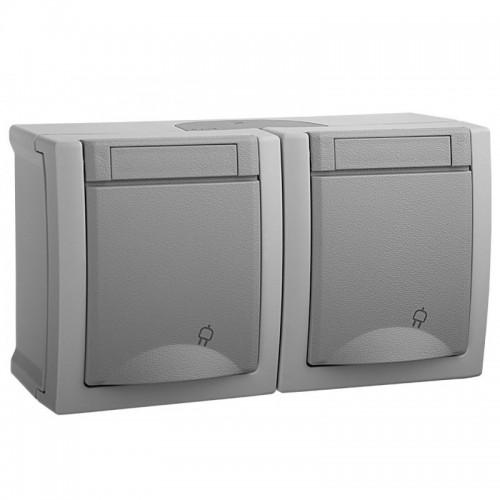 Розетка с/з + розетка с/з серый наружный Panasonic Pacific (WPTC48002GR-BY)