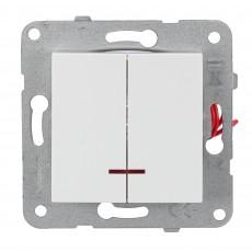 Выключатель 2-кл с индикацией белый