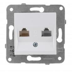 Розетка компьютерная (2 порта)белая