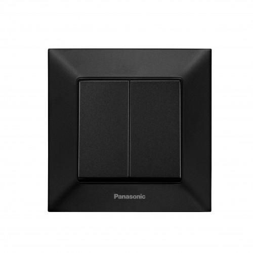 Выключатель 2-кл чёрный Panasonic Arkedia Slim (WNTC00092BL-BY)