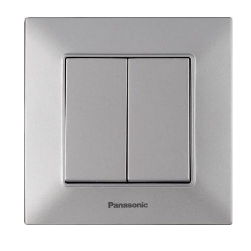 Выключатель 2-кл серебристый Panasonic Arkedia Slim (WNTC00092SL-BY)