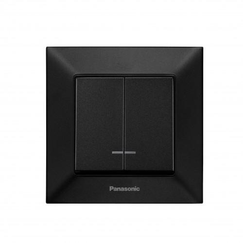 Выключатель 2-кл с индикацией чёрный Panasonic Arkedia Slim (WNTC00102BL-BY)