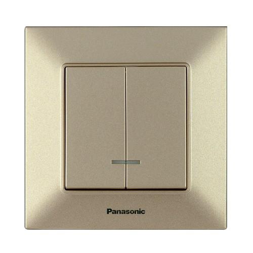 Выключатель 2-кл с индикацией бронзовый Panasonic Arkedia Slim (WNTC00102BR-BY)