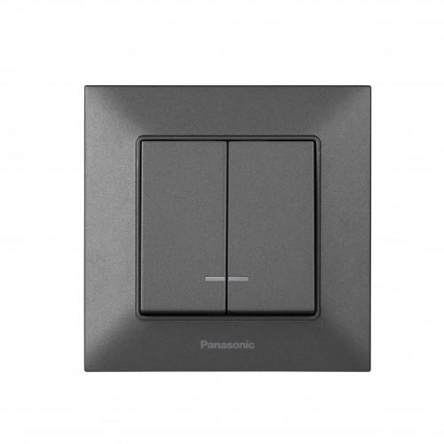 Выключатель 2-кл с индикацией дымчатый Panasonic Arkedia Slim (WNTC00102DG-BY)
