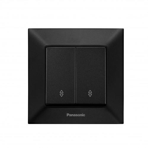 Выключатель 2-кл проходной чёрный Panasonic Arkedia Slim (WNTC00112BL-BY)