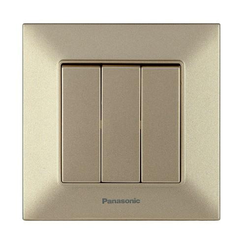 Выключатель 3-кл бронзовый Panasonic Arkedia Slim (WNTC00152BR-BY)