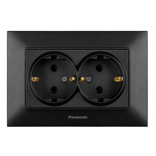 Двойная розетка с/з  черная Panasonic Arkedia Slim (WNTC02052BL-BY)