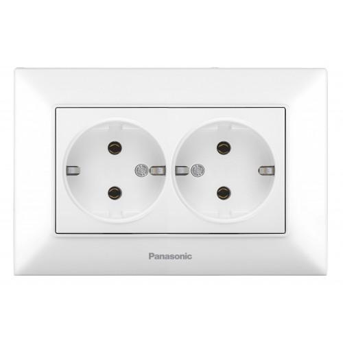 Двойная розетка с/з белая Panasonic Arkedia Slim (WNTC02052WH-BY)