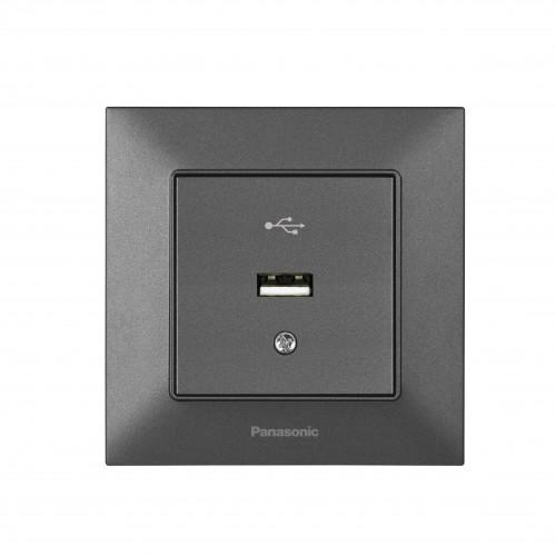 Розетка  USB 5V-2A дымчатая Panasonic Arkedia Slim (WNTC02312DG-BY)