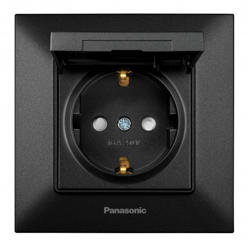 Розетка с крышкой черная Panasonic Arkedia Slim (WNTC03102BL-BY)