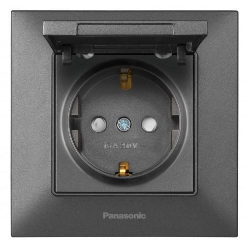 Розетка с крышкой дымчатая Panasonic Arkedia Slim (WNTC03102DG-BY)