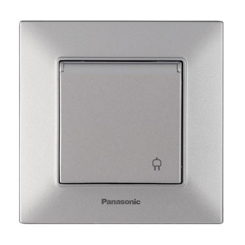 Розетка с крышкой серебристая Panasonic Arkedia Slim (WNTC03102SL-BY)