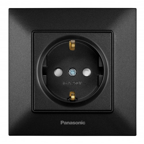 Розетка с/з з/ш черная Panasonic Arkedia Slim (WNTC03122BL-BY)