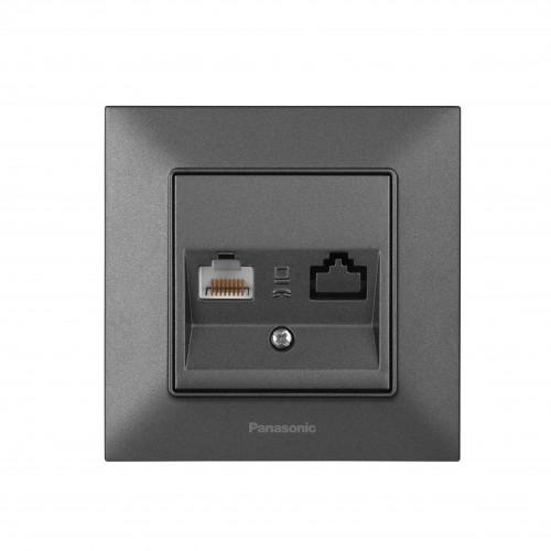 Розетка компьютерная дымчатая Panasonic Arkedia Slim (WNTC04042DG-BY)