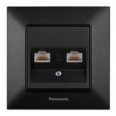 Розетка компьютерная (2 порта) черная