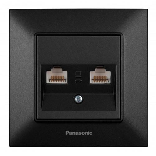 Розетка компьютерная (2 порта) черная Panasonic Arkedia Slim (WNTC04062BL-BY)
