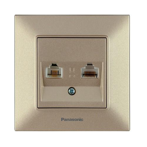 Розетка компьютерная (2 порта) бронзовая Panasonic Arkedia Slim (WNTC04062BR-BY)