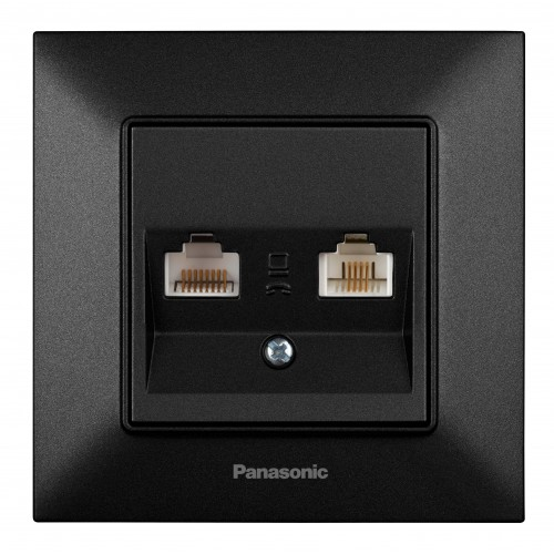 Розетка компьютер+телефон черная Panasonic Arkedia Slim (WNTC04082BL-BY)