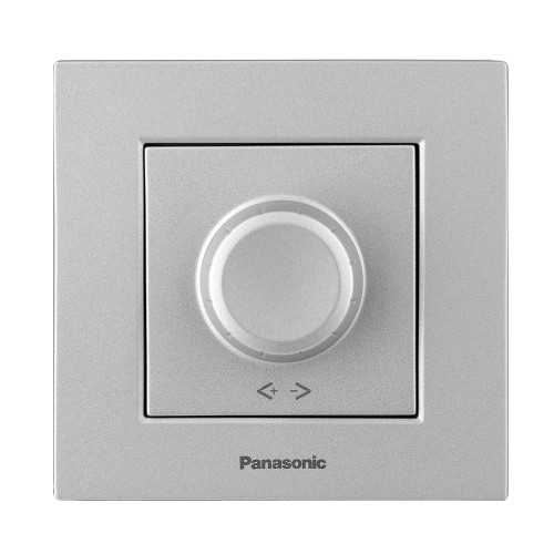 Выключатель-диммер серебристый 6-100W  Panasonic Arkedia Slim (WNTC05202SL-BY)