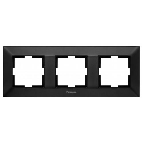 Рамка*3 универсальная черная Panasonic Arkedia Slim (WNTF08032BL-BY)