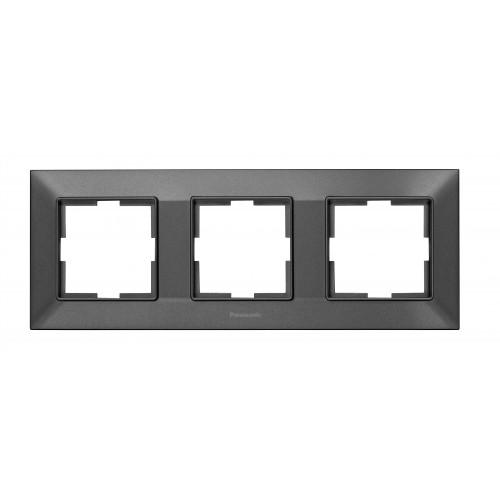 Рамка*3 универсальная дымчатая Panasonic Arkedia Slim (WNTF08032DG-BY)