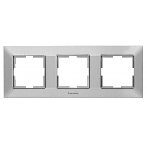 Рамка*3 универсальная серебристая Panasonic Arkedia Slim (WNTF08032SL-BY)