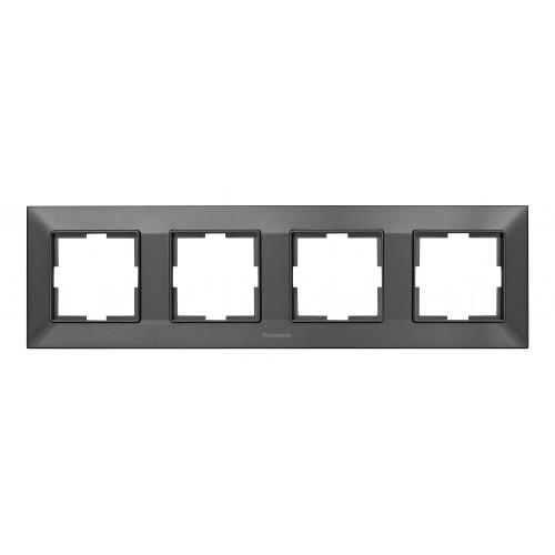 Рамка*4 универсальная дымчатая Panasonic Arkedia Slim (WNTF08042DG-BY)