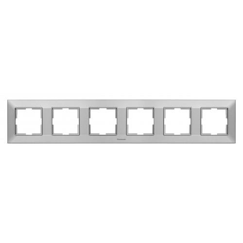 Рамка*6 универсальная серебристая Panasonic Arkedia Slim (WNTF08062SL-BY)