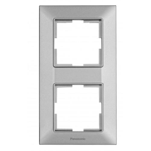 Рамка*2 вертикальная серебристая Panasonic Arkedia Slim (WNTF08122SL-BY)