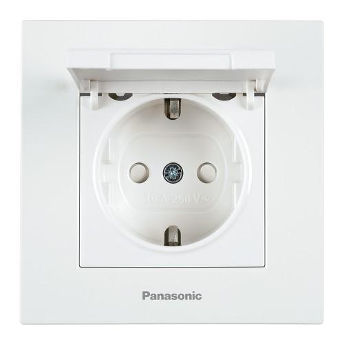 Розетка с крышкой (без рамки) белая  Panasonic Karre plus (WKTT02102WH-BY)