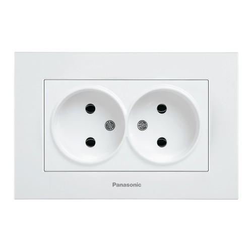 Двойная розетка (в сборе) белая Panasonic Karre plus (WKTC02042WH-BY)