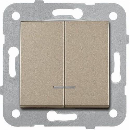 Выключатель 2-кл с индикацией (без рамки) бронза Panasonic Karre plus (WKTT00102BR-BY)