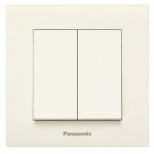 Выключатель 2-кл (без рамки) кремовый Panasonic Karre plus (WKTT00092BG-BY)