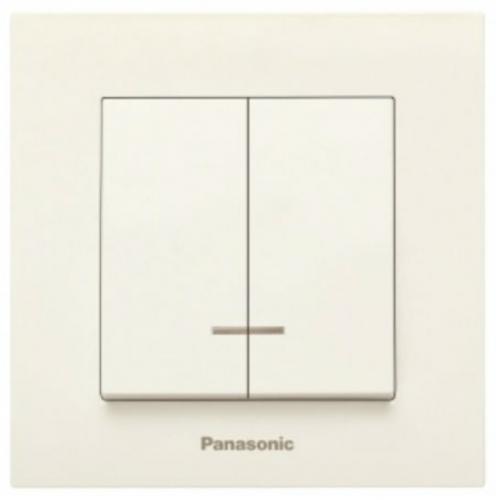 Выключатель 2-кл с индикацией (без рамки) кремовый Panasonic Karre plus (WKTT00102BG-BY)