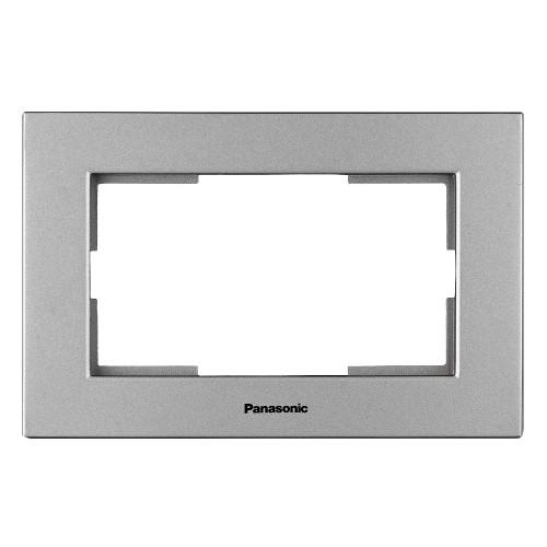 Рамка для 2-й розетки серебро Panasonic Karre plus (WKTF08092SL-BY)