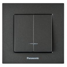 Выключатель 2-кл с индикацией (без рамки) дымчатый