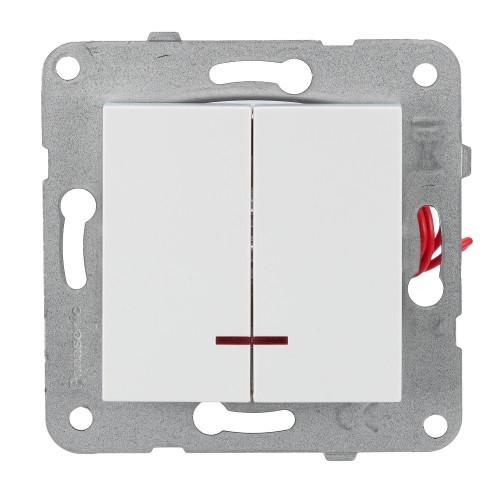 Выключатель 2-кл с индикацией белый Panasonic Arkedia Slim (WKTT00102WH-BY)