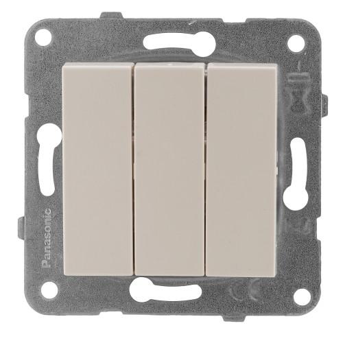Выключатель 3-кл кремовый Panasonic Arkedia Slim (WKTT00152BG-BY)