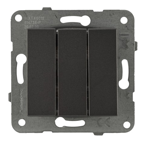 Выключатель 3-кл (без рамки) дымчатый Panasonic Karre plus (WKTT00152DG-BY)