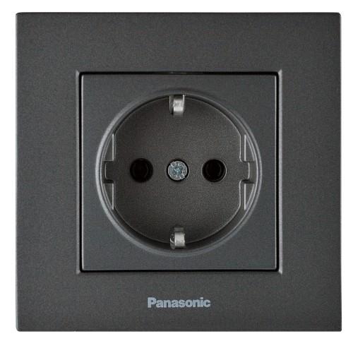 Розетка с/з (без рамки) дымчатый Panasonic Karre plus (WKTT02022DG-BY)