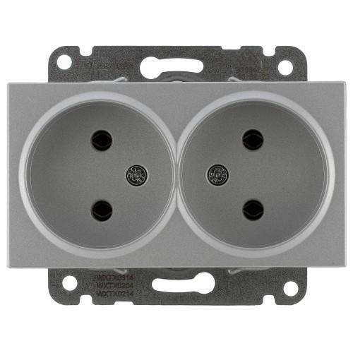 Двойная розетка (без рамки) серебро Panasonic Karre plus (WKTT02042SL-BY)