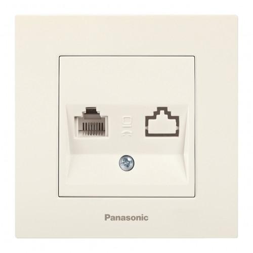 Розетка ТЛФ кремовая Panasonic Arkedia Slim (WKTT04022BG-BY)