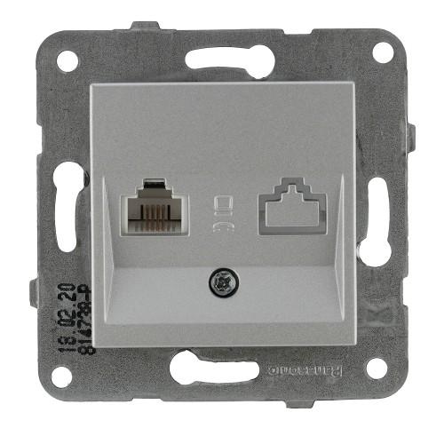Розетка ТЛФ (без рамки) серебро Panasonic Karre plus (WKTT04022SL-BY)