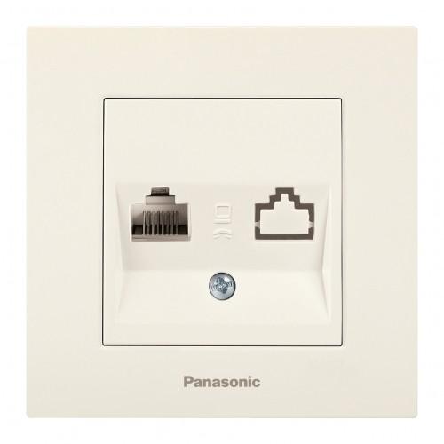 Розетка компьютерная (без рамки) кремовая Panasonic Karre plus (WKTT04042BG-BY)
