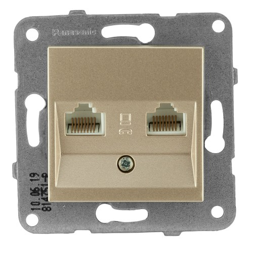Розетка компьютерная (2 порта) (без рамки) бронза Panasonic Karre plus (WKTT04062BR-BY)