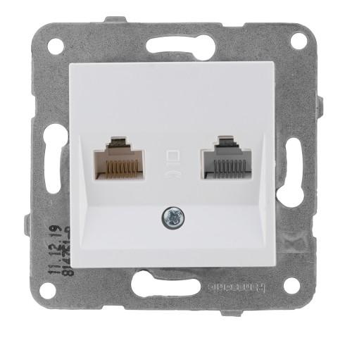 Розетка компьютерная (2 порта)белая Panasonic Arkedia Slim (WKTT04062WH-BY)