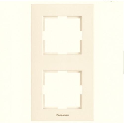Рамка*2 вертикальная кремовая Panasonic Karre plus (WKTF08122BG-BY)