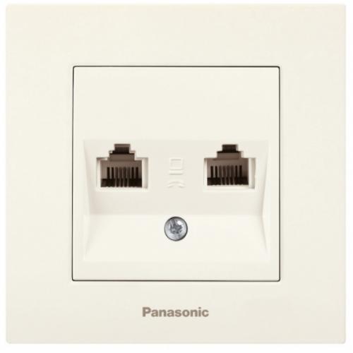 Розетка комп+телефон (без рамки) кремовая Panasonic Karre plus (WKTT04082BG-BY)