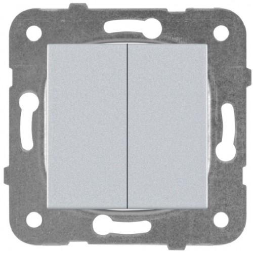 Выключатель 2-кл серебро Panasonic Karre plus (WKTT00092SL-BY)