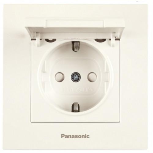 Розетка с крышкой (без рамки) кремовая Panasonic Karre plus (WKTT02102BG-BY)
